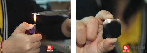 用火苗熏烤铁片,在铁片表面出现一些黑色痕迹